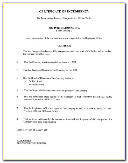 Certificate Of Incumbency Template Word