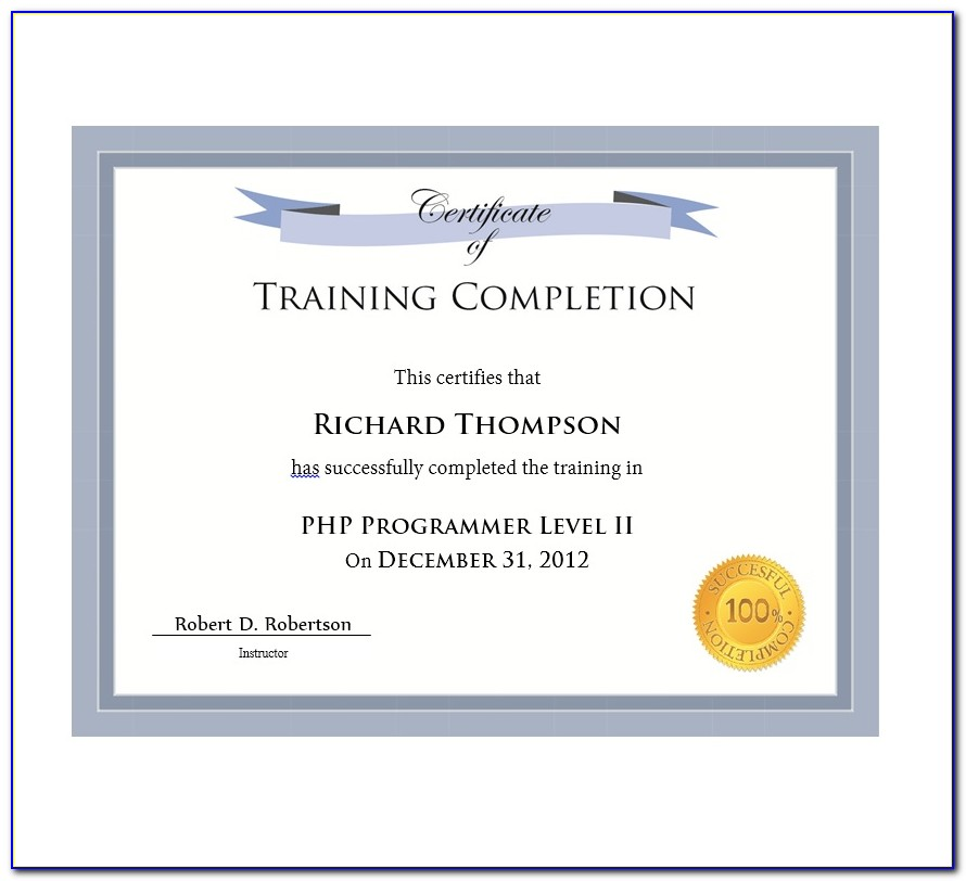 Certificate Of Training Completion Template Word