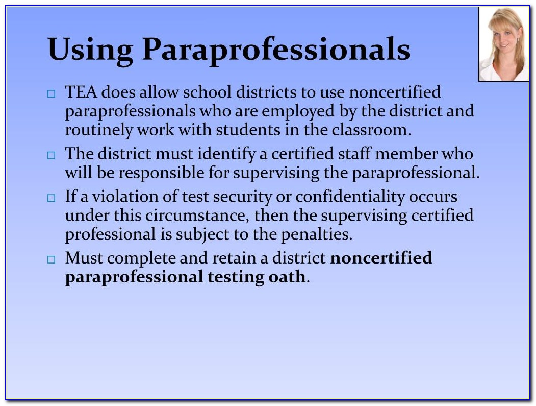 Certified Paraprofessional Texas