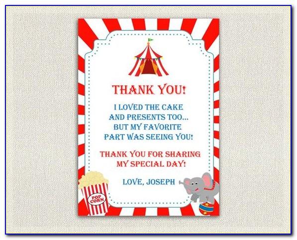 Circus Thank You Cards Printable