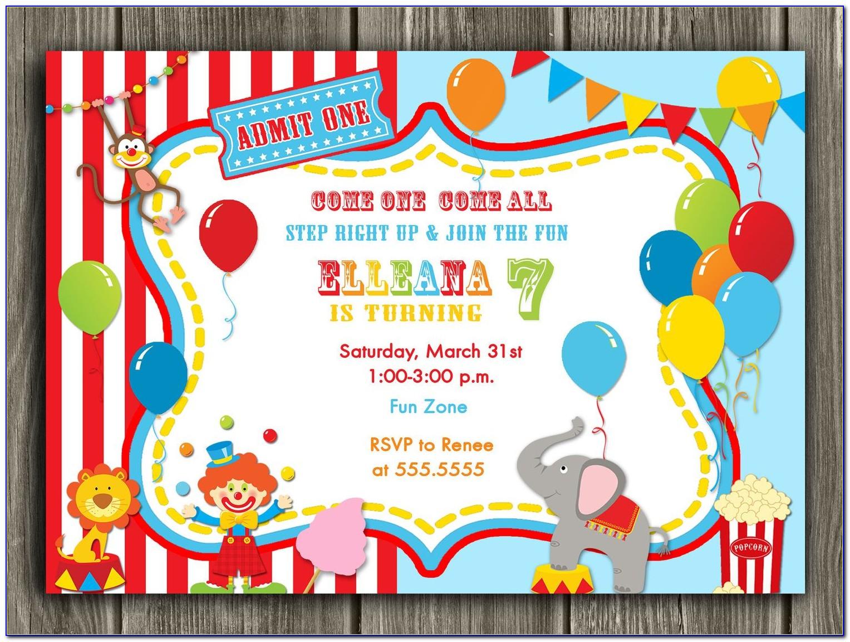 Circus Theme Invitation Cards