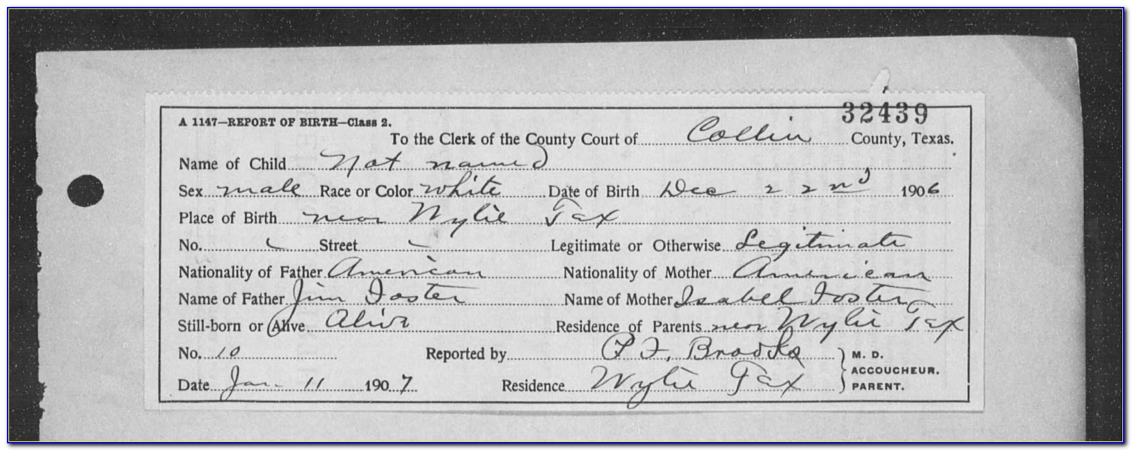 Collin County Birth Certificate Copy