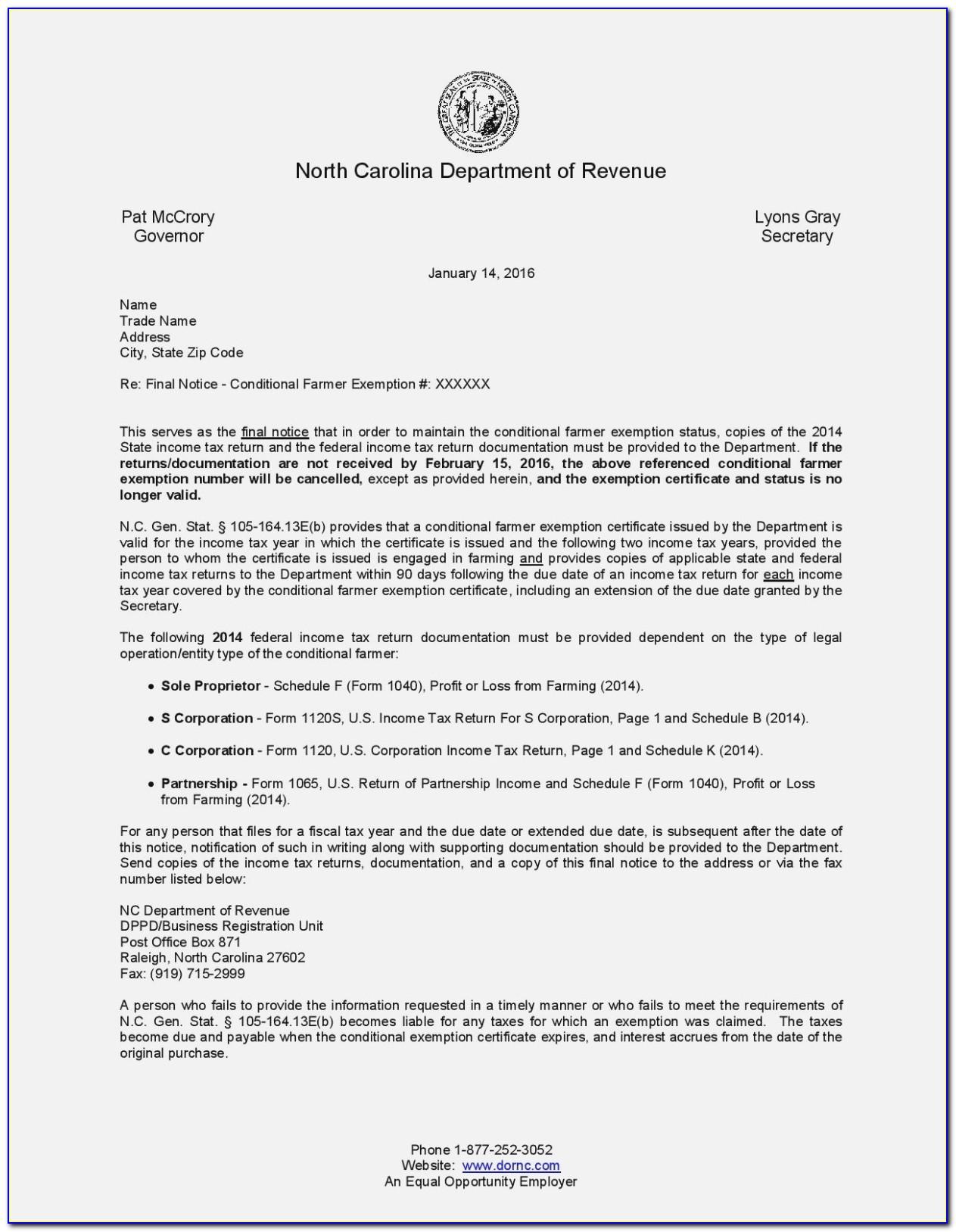 Colorado Resale Certificate Example