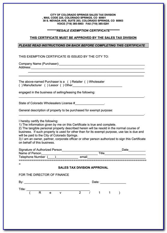 Colorado Resale Certificate Expiration