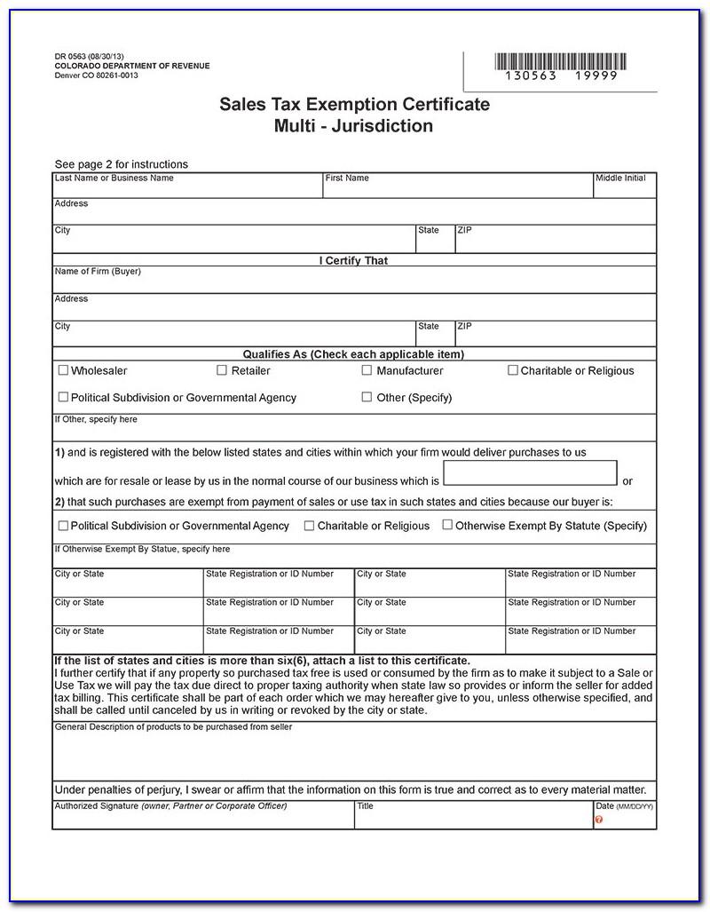 Colorado Resale Certificate Form
