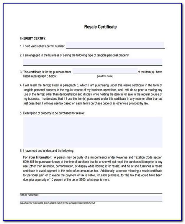 Colorado Resale Certificate Verification
