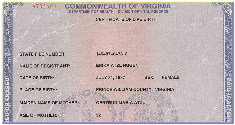 Copy Of Birth Certificate Virginia Dmv