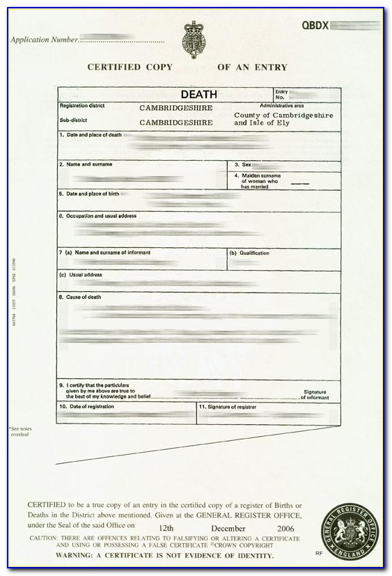 Death Certificate Template South Africa