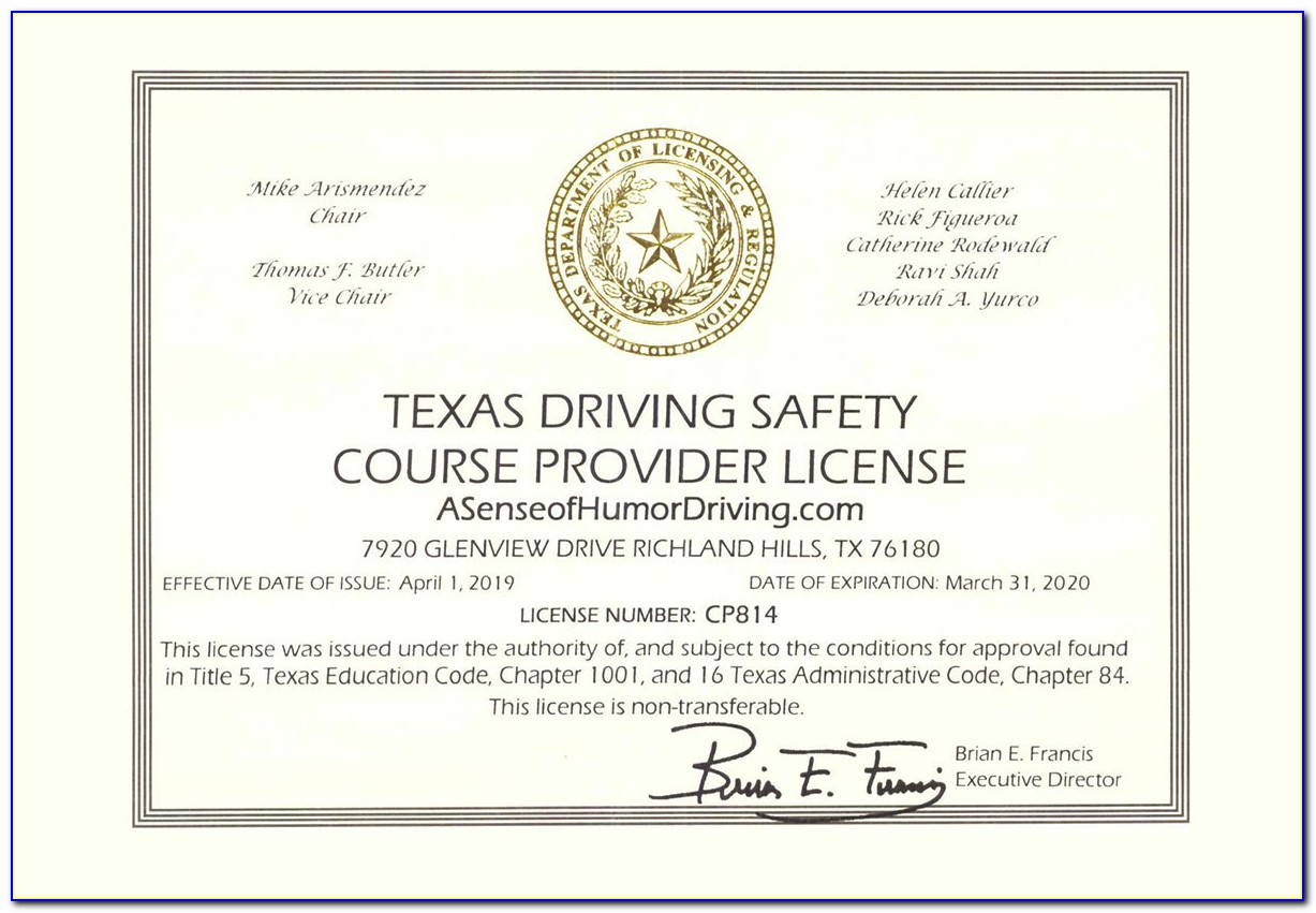 Defensive Driving Course Online Texas Free Printable Certificate
