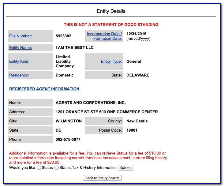 Delaware Certificate Of Formation Search