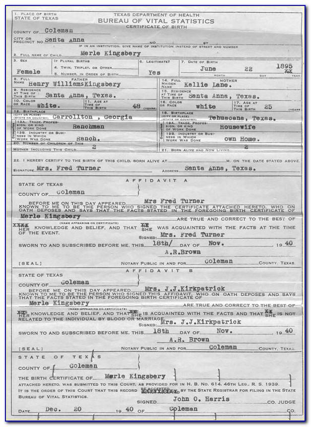 Denton County Certified Birth Certificate