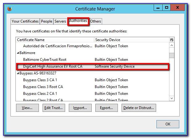 Digicert Root Certificate Not Trusted
