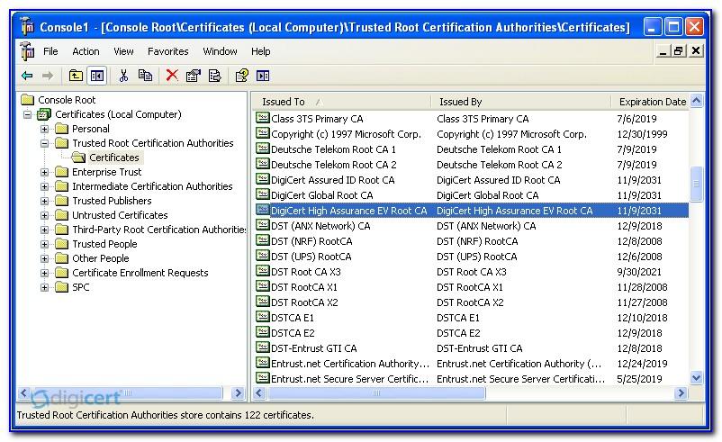 Digicert Root Certificate Update