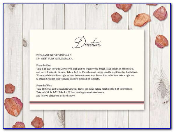 Direction Card For Wedding Invitation Template