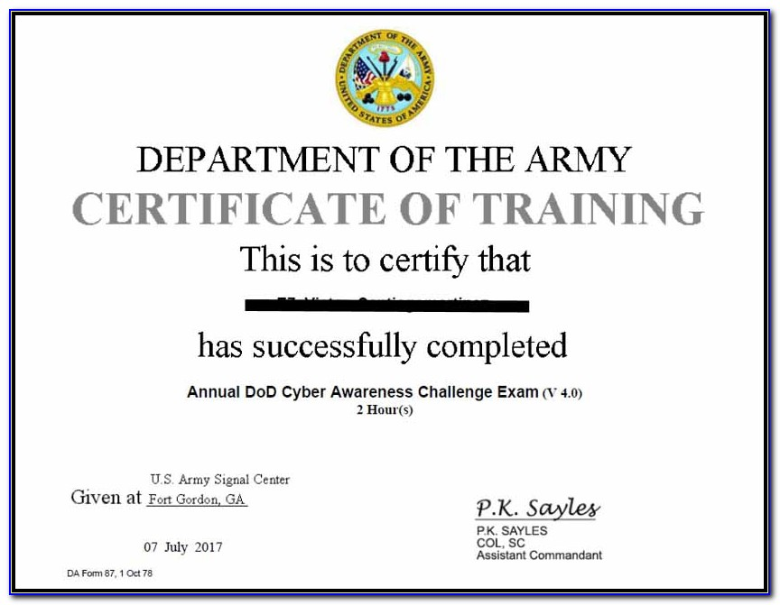 Dod Cyber Awareness Challenge Certificate Army