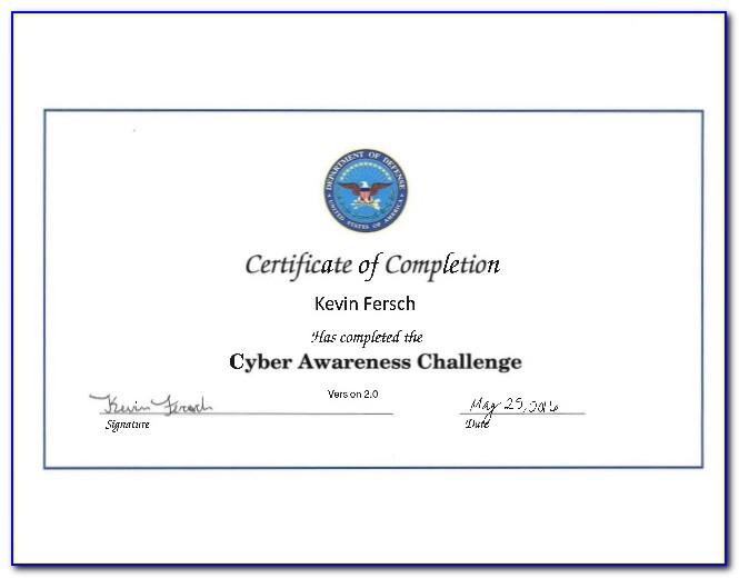 Dod Cyber Awareness Challenge Training Certificate