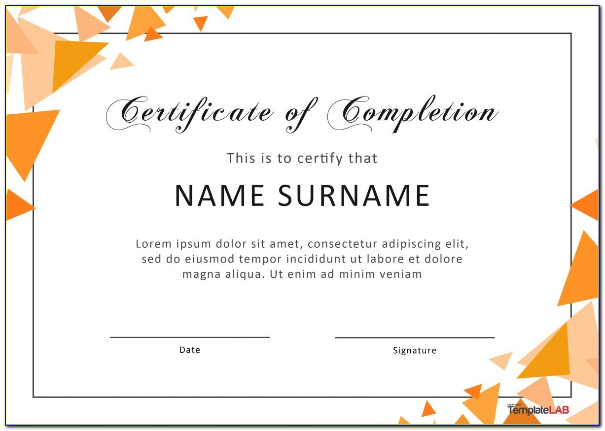 Editable Certificate Of Completion Template Word