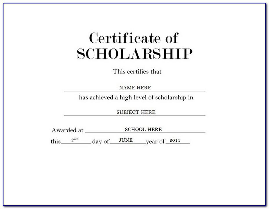 Editable Scholarship Certificate Template