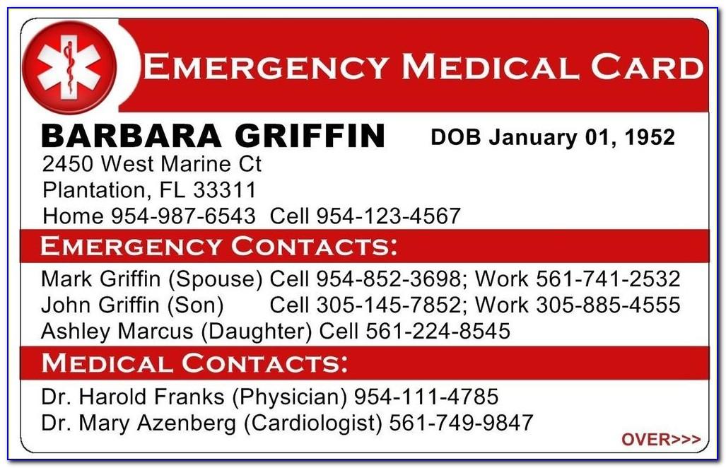 Emergency Medical Card Template