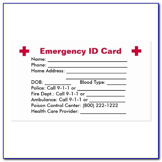 Emergency Medical Information Card Template