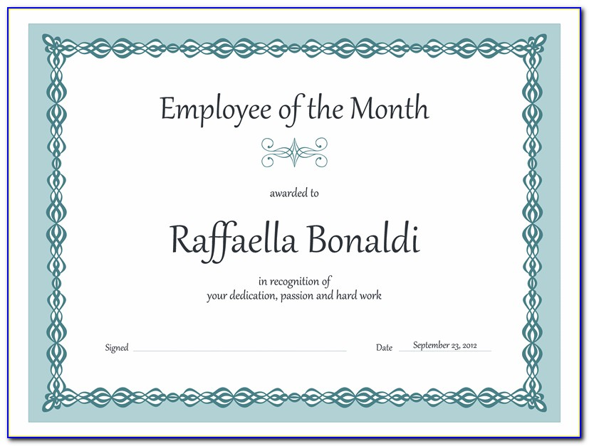 Employee Of The Month Certificate Template Word Free
