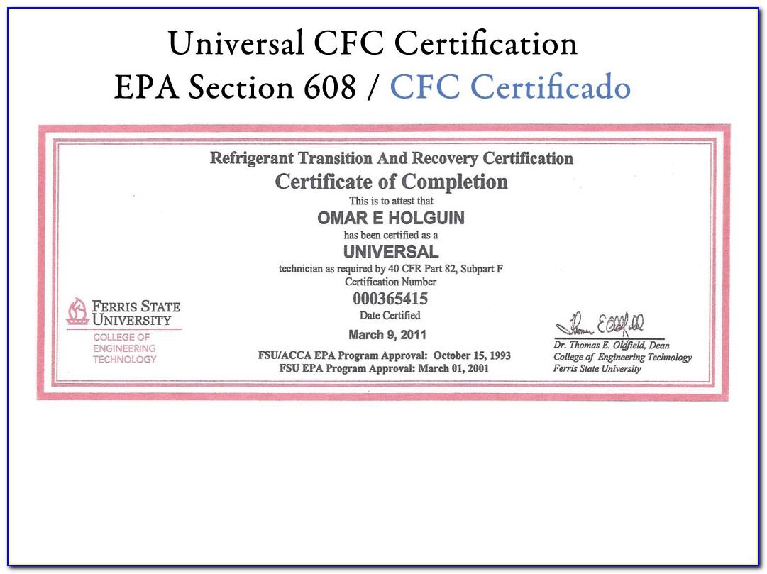 Epa Refrigerant Certification Lost Card