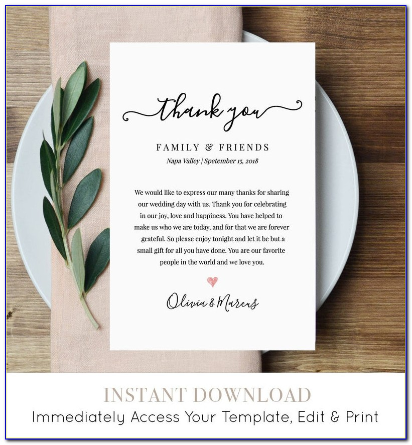 Etsy Wedding Thank You Card Template