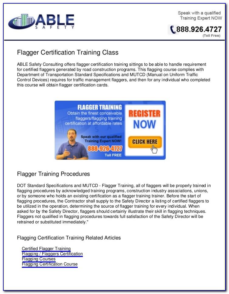 Flagger Certification Classes Spokane Wa