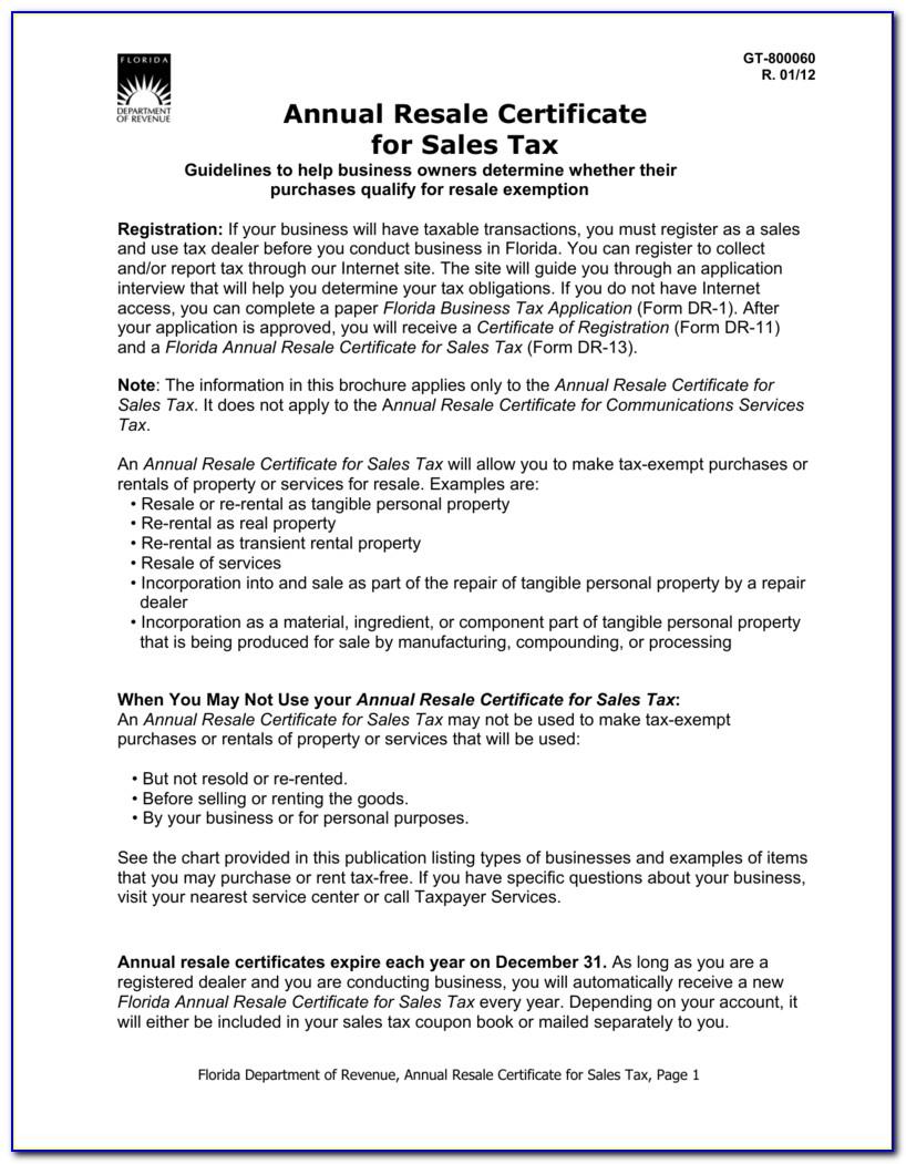Florida Resale Certificate Online Application
