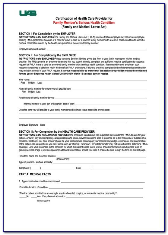 Fmla Certification Form For Birth Of Child