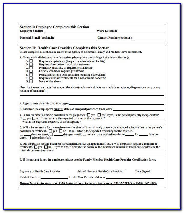 Fmla Certification Forms In Spanish