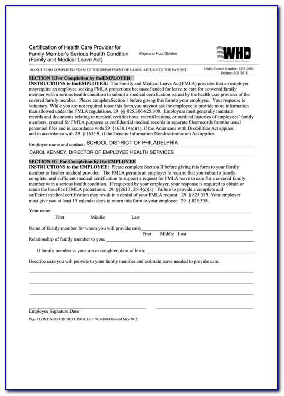 Fmla Forms Certification Of Health Care Provider