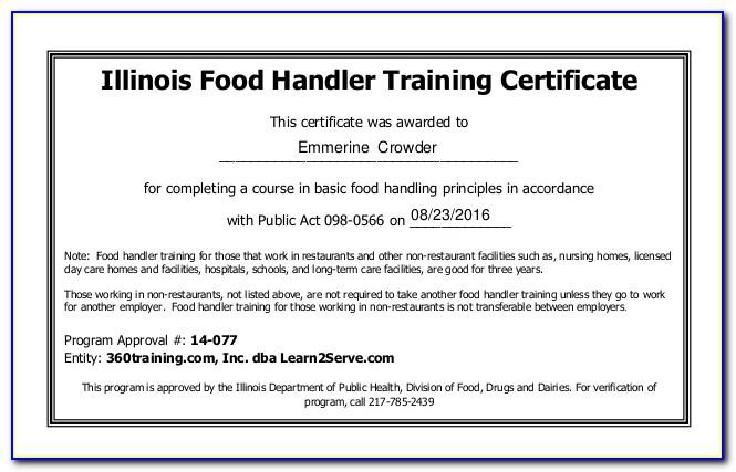 Food Handler Certificate Illinois Free