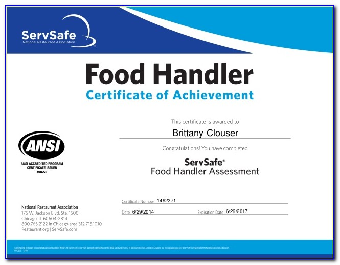 Food Handler Certificate Illinois Servsafe
