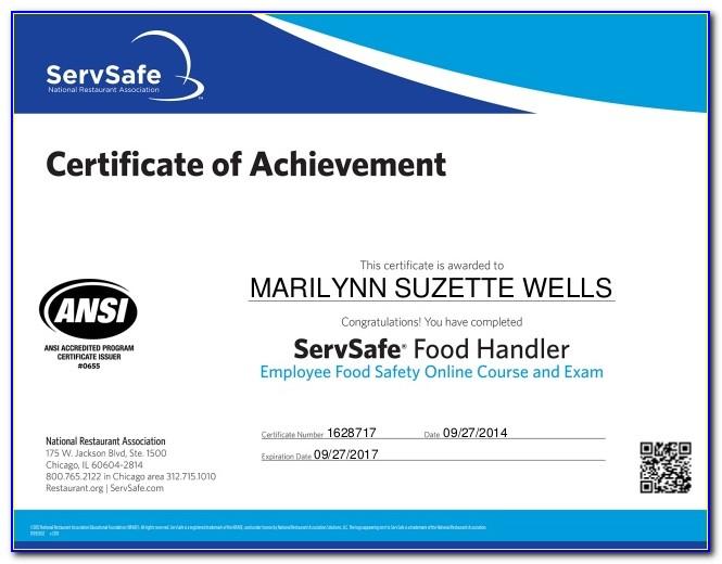 Food Handlers Certificate Nyc