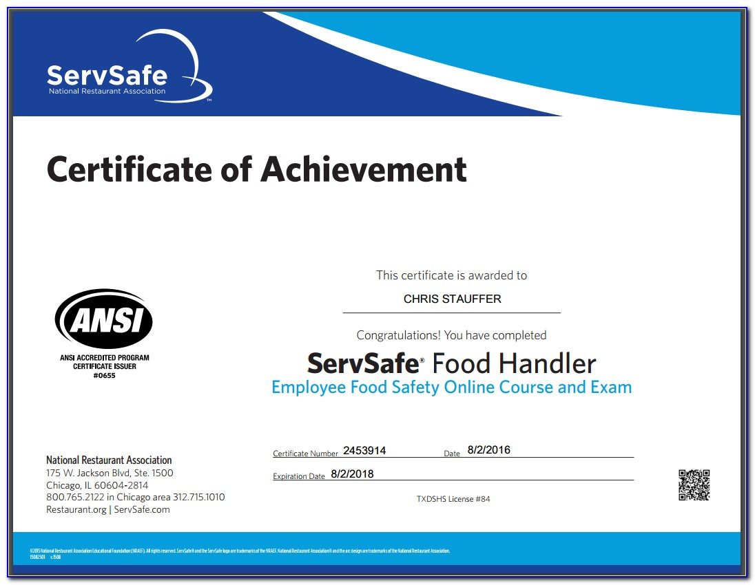 Food Handling Certificate New York