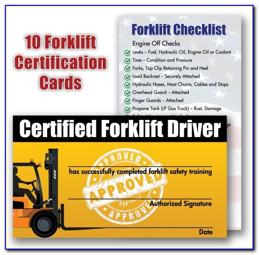 Forklift Training Certification Card Template