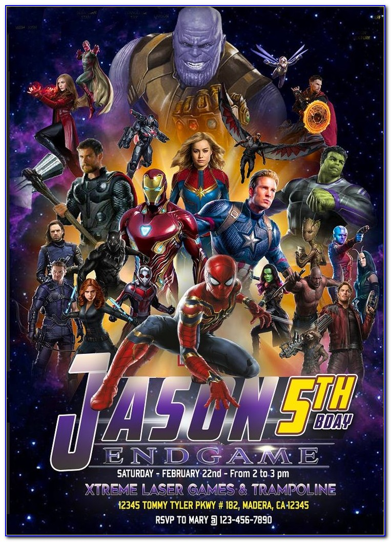 Free Avengers Birthday Invitation Card