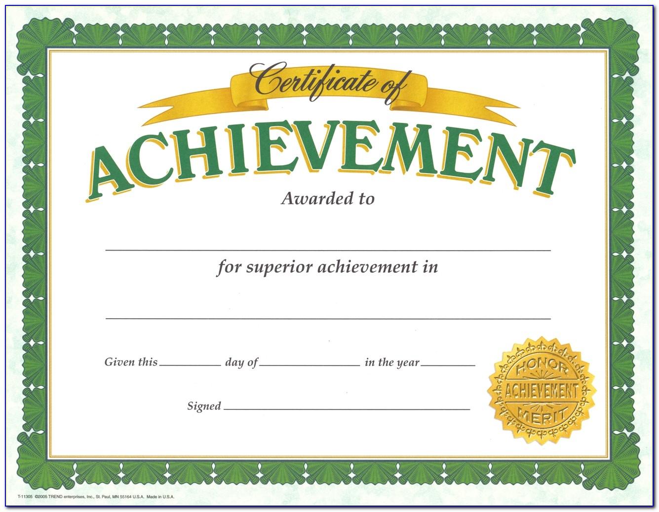 Free Blank Certificates Of Achievement