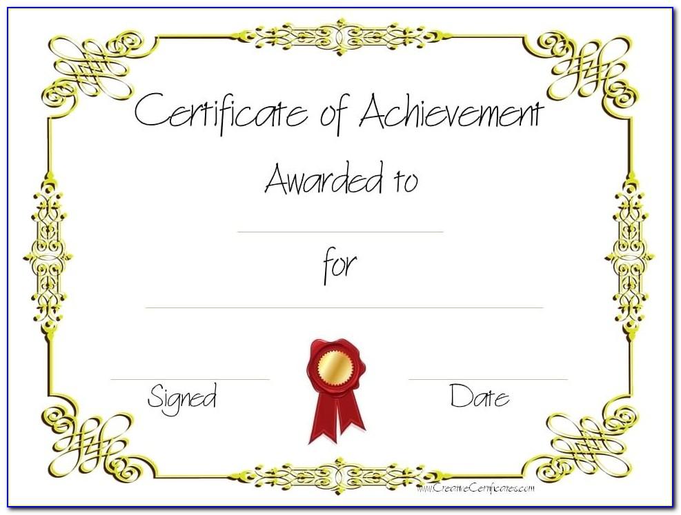 Free Editable Printable Certificates Of Achievement