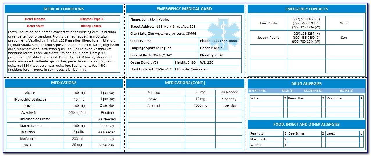 Free Emergency Medical Card Template