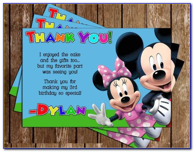 Free Mickey Mouse Thank You Card Template