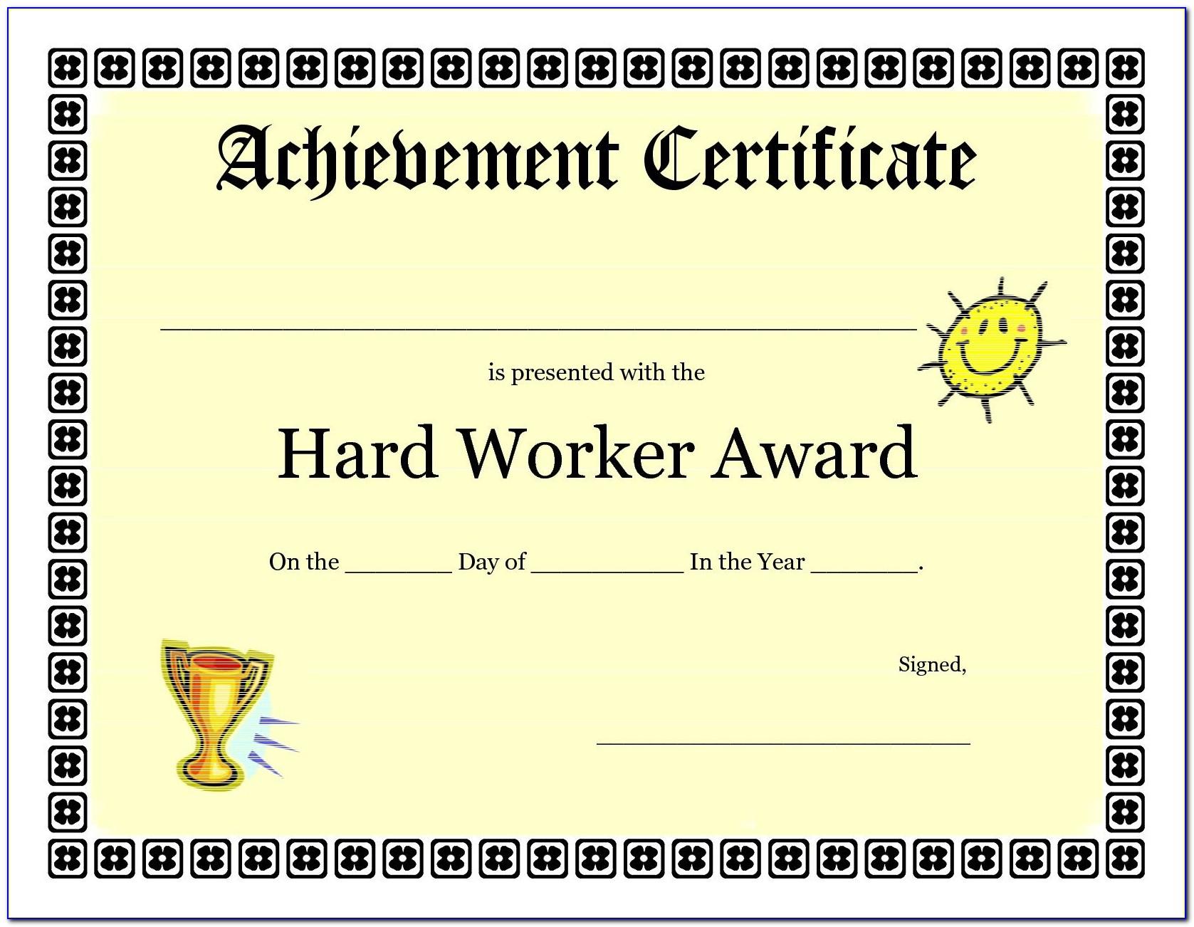 Free Online Printable Certificates Of Achievement