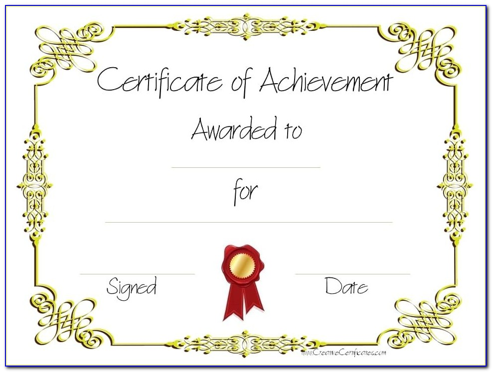Free Printable Certificate Of Achievement Awards