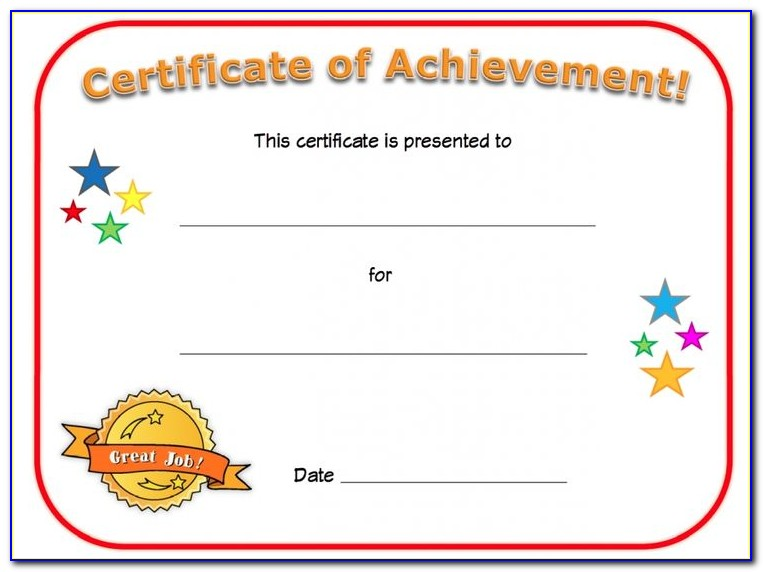 Free Printable Sports Certificates Of Achievement