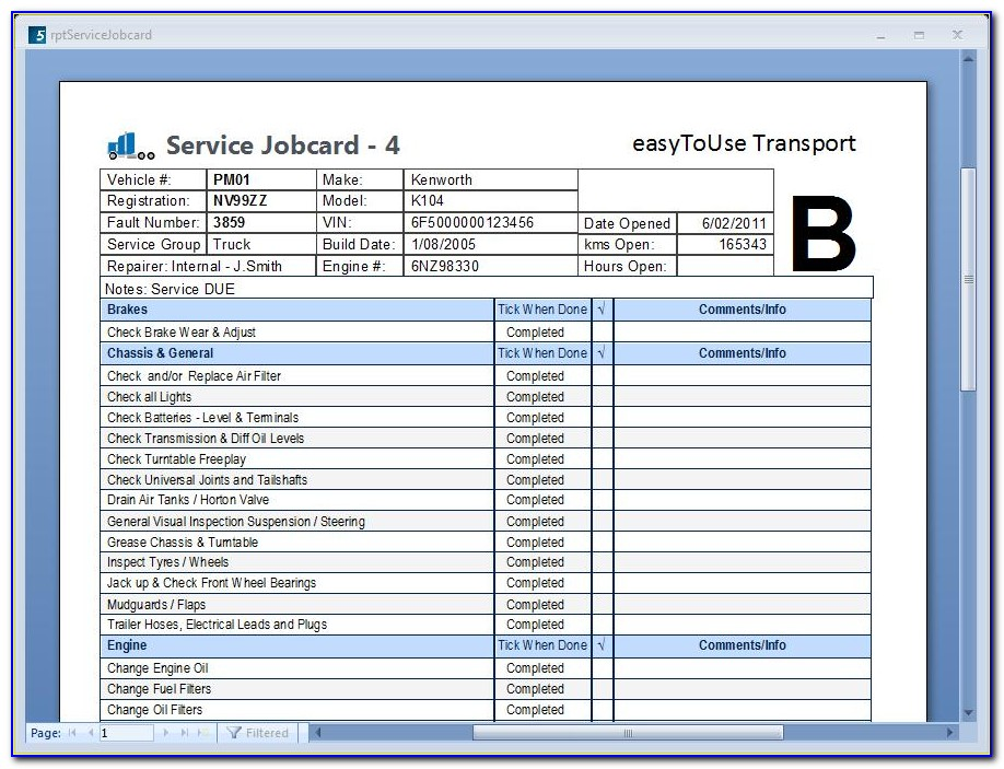 Free Workshop Job Card Template Excel