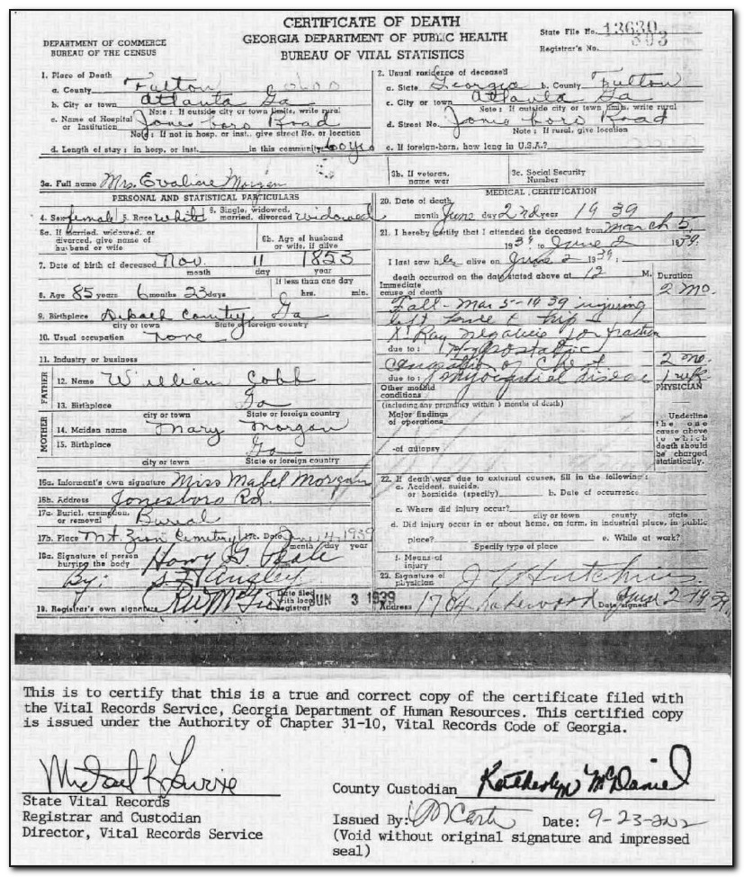 Fulton County Courthouse Birth Certificate