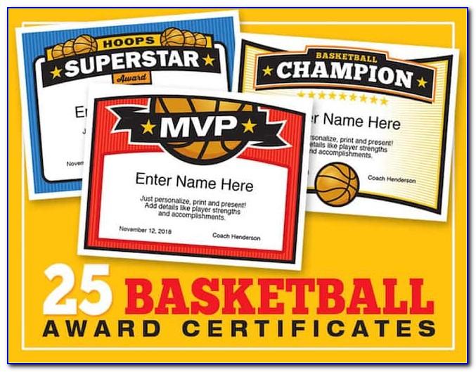 Funny Basketball Awards Certificates