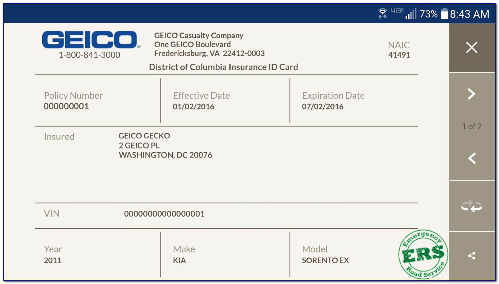 Geico Auto Insurance Card Template