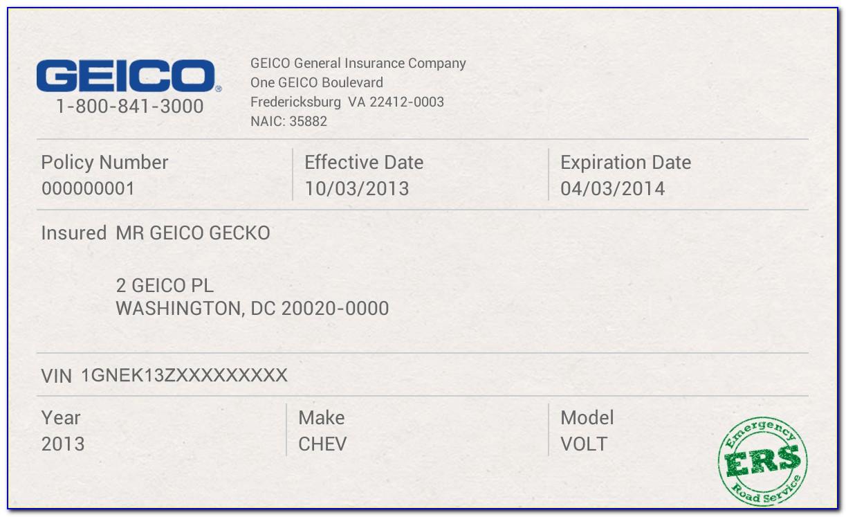 Geico Car Insurance Card Template